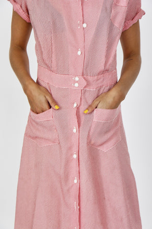 70s Gingham Checked Dress