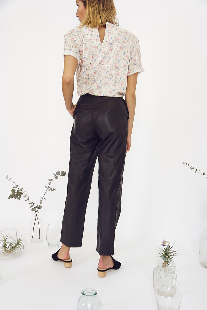 Vintage Deep Chocolate Leather Trouser