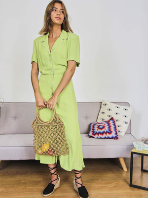 Micro Spotted Lime Dress