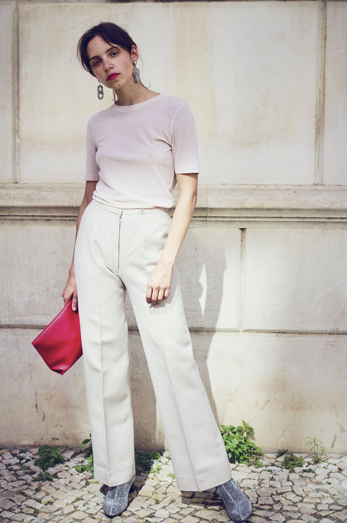 70s Eggshell High Waisted Wool Trousers
