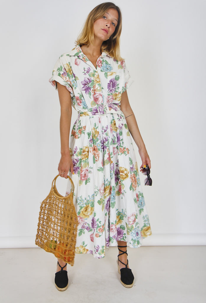 80s  Cotton Midi Floral Shirt Dress
