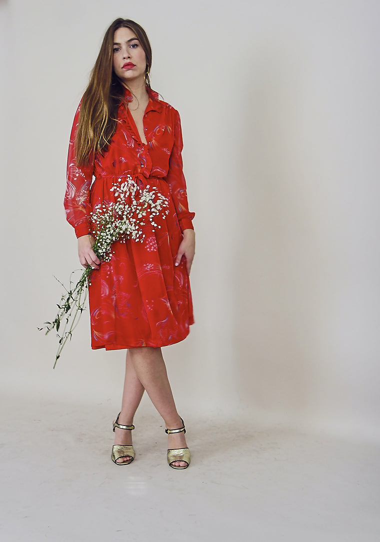 Gorgeous 70's Tomato Red Printed Dress