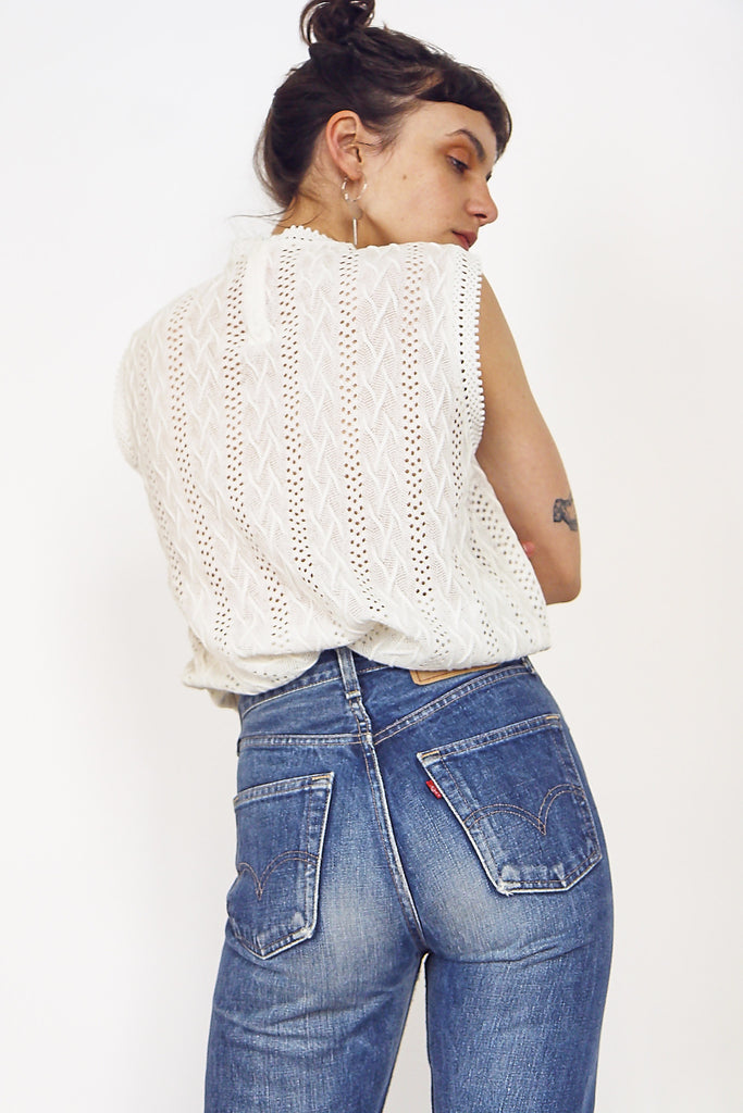 Cute Vintage 70s Knitted Cream Tank Top