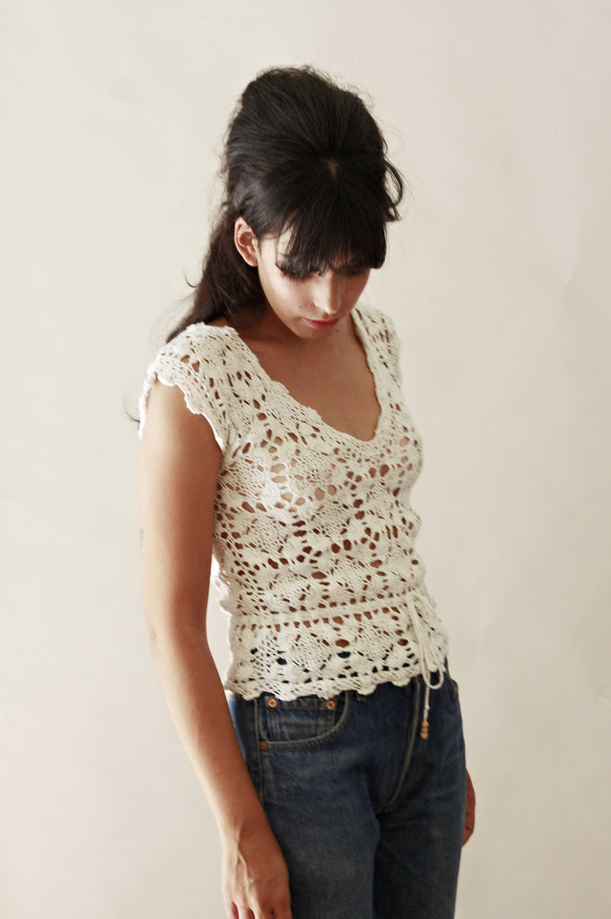 70s Style White Crochet Top