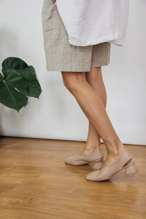 Simone Nude Square Toe Leather Slingback