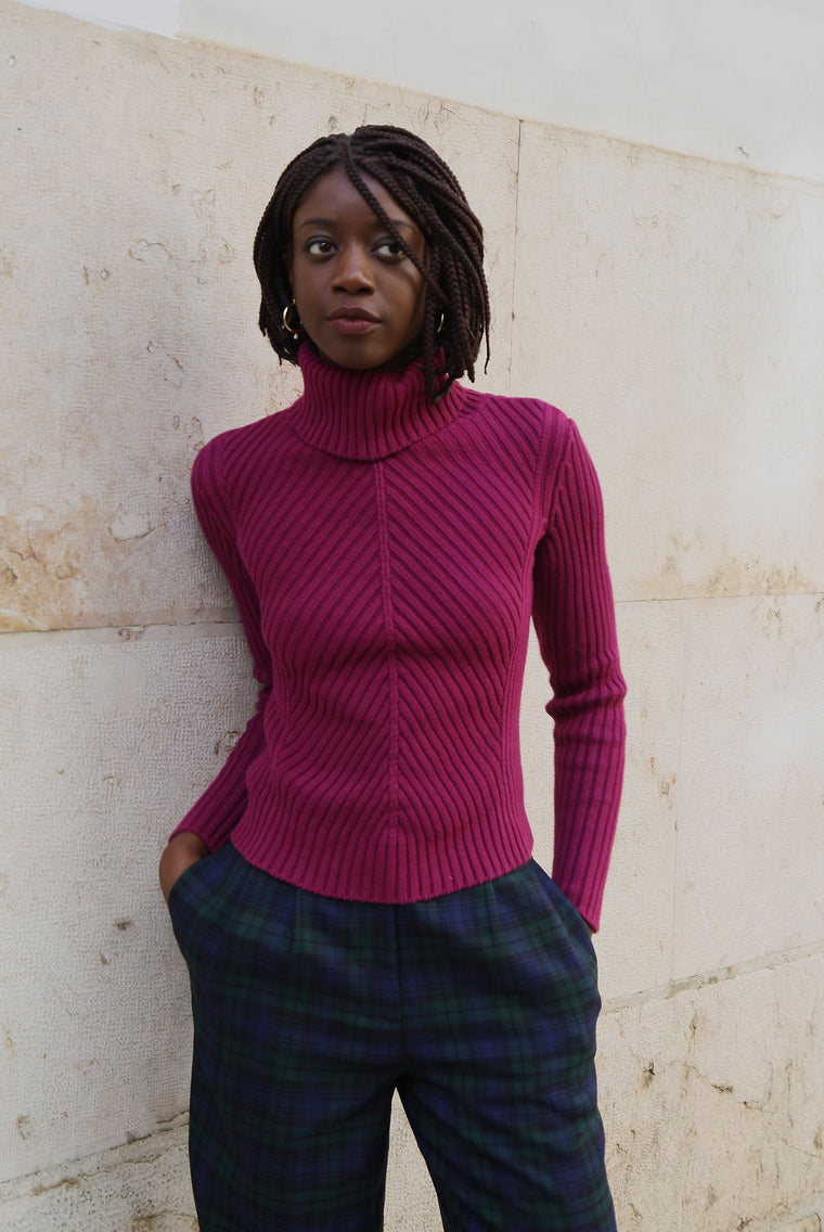 Magenta Ribbed Turtle Neck