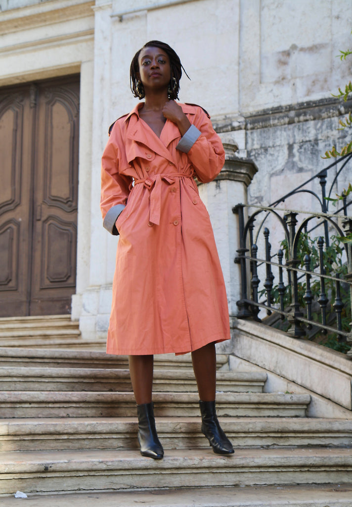 Salmon And Grey Trench Coat