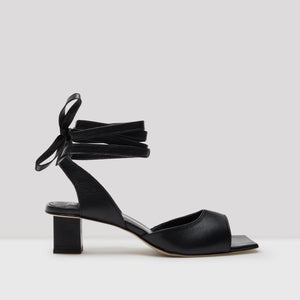 Tonia Black Leather Sandals