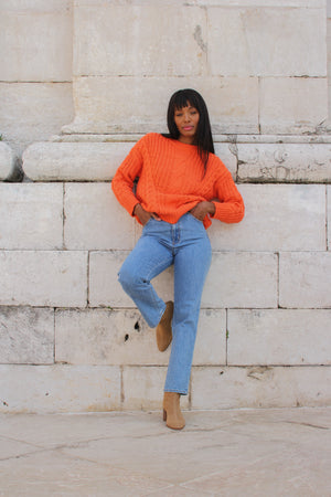 Maud Orange Chunky Cable Knit