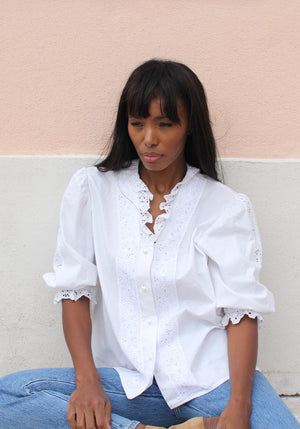 White romantic embroidered shirt
