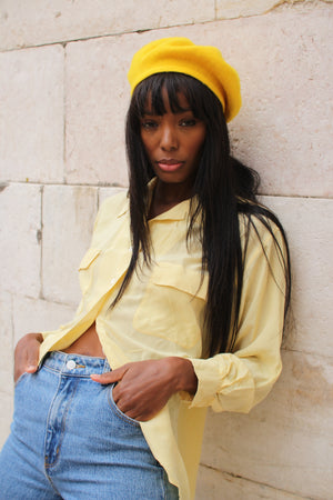 Yellow Wool Beret