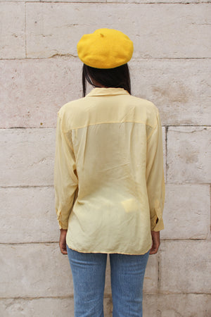 90's Mellow Yellow Silk Button Up Blouse