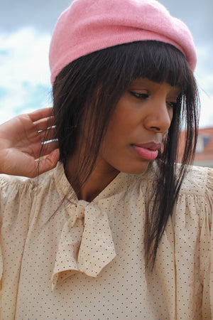 Candy Pink Wool Beret