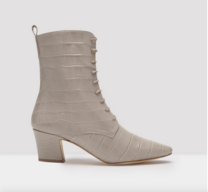 Zelie Taupe Croc Leather Boots