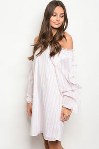 White-Pink Stripe Off the Shoulder Dress