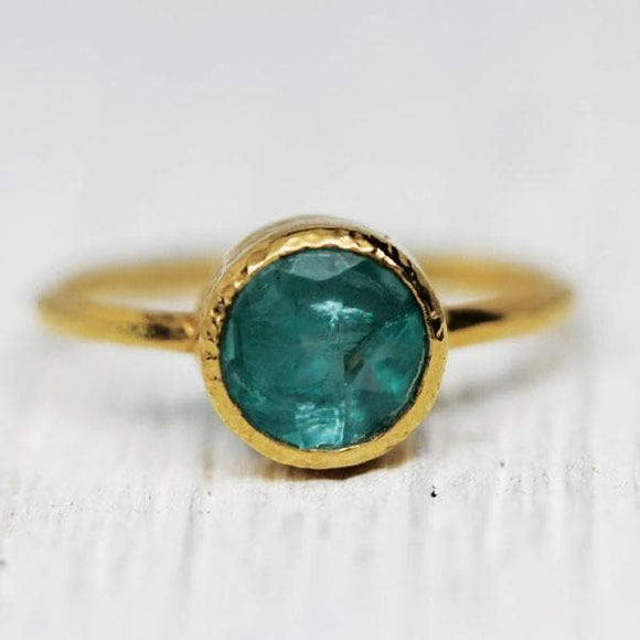 Gold Gem Aquamarine Ring