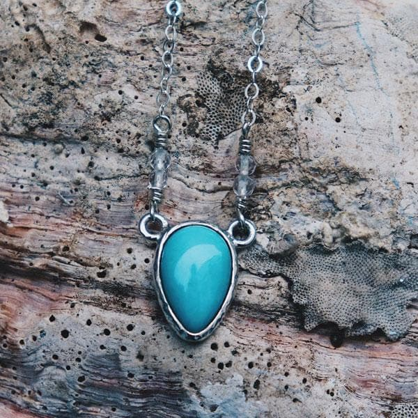 Turquoise Necklace :: Silver Petit Tear