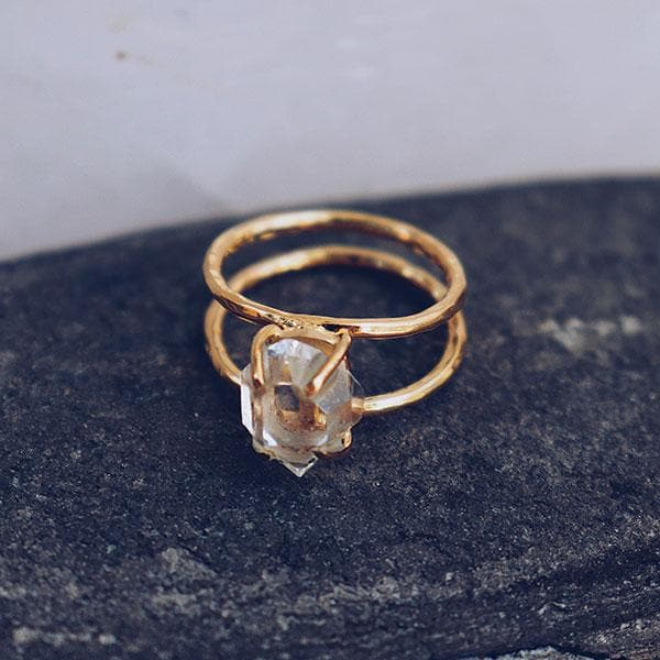 Herkimer Diamond Ring :: Gold