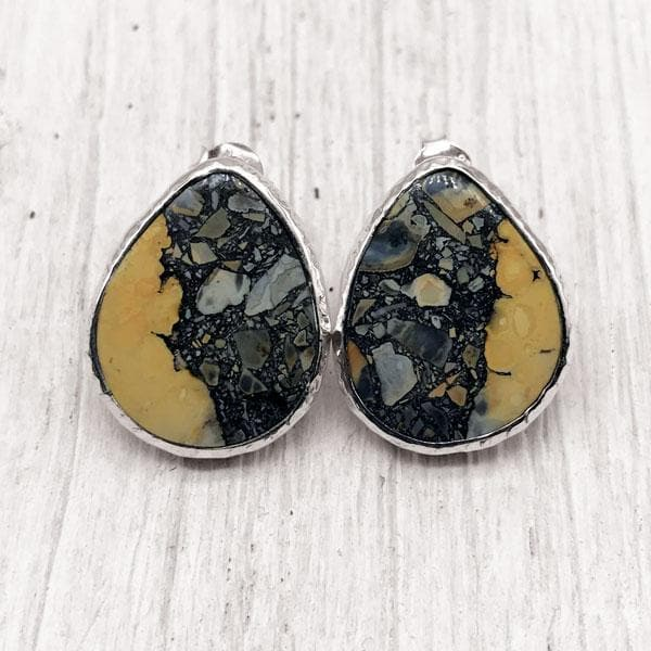 White Horse Jasper Earrings