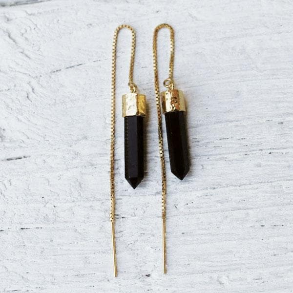 Tourmaline Threader Earrings :: See more colors
