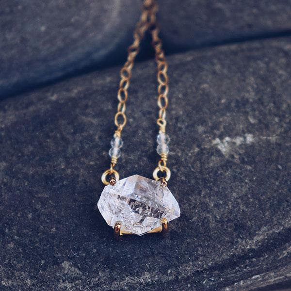 Herkimer Diamond Necklace :: Gold