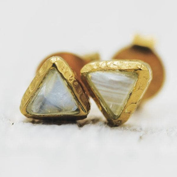 Shrine Pyramid Earring :: Moonstone