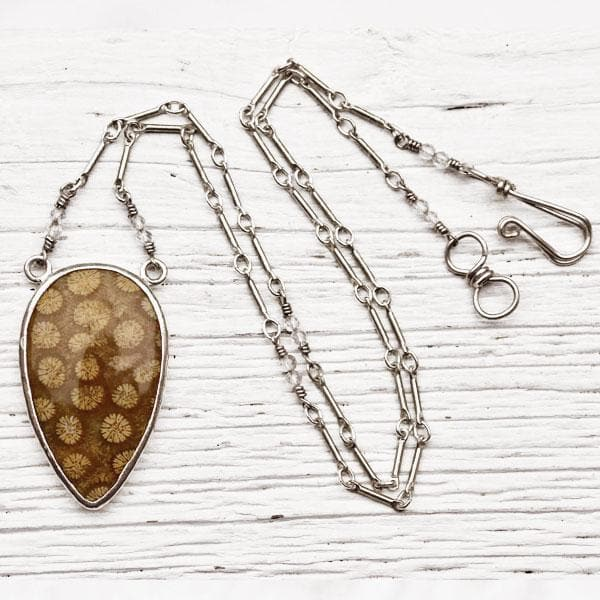 Fossilized Sunflower Coral Necklace