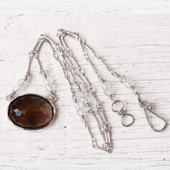 Smoky Quartz Faceted Necklace :: Silver