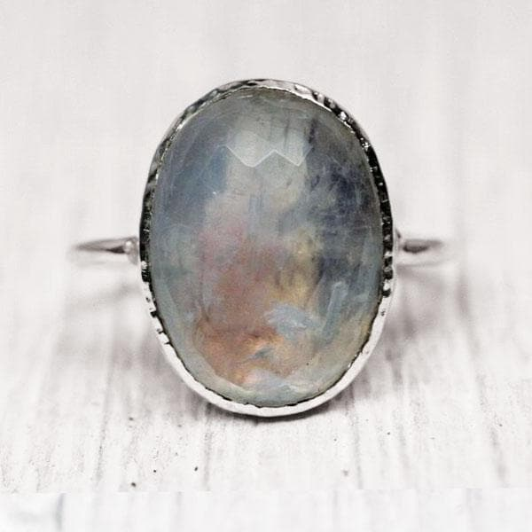 Silver Faceted Moonstone Ring