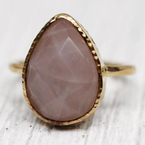 Gold Faceted Rose Quartz Ring