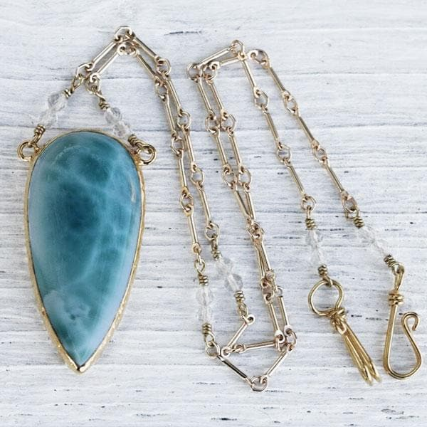 Gold Larimar Necklace