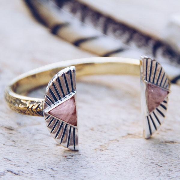 Shape Shift Cuff :: Rose Quartz