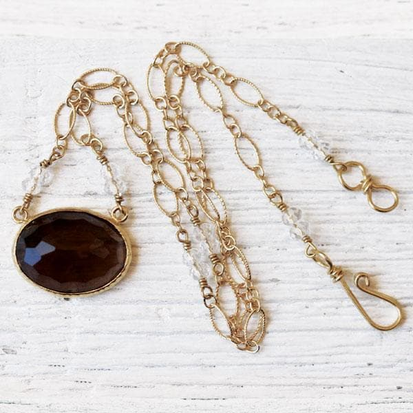 Smoky Quartz Faceted Necklace :: Gold