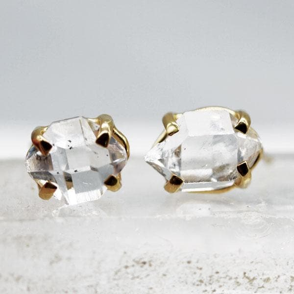 Herkimer Diamond Stud Earrings :: Gold