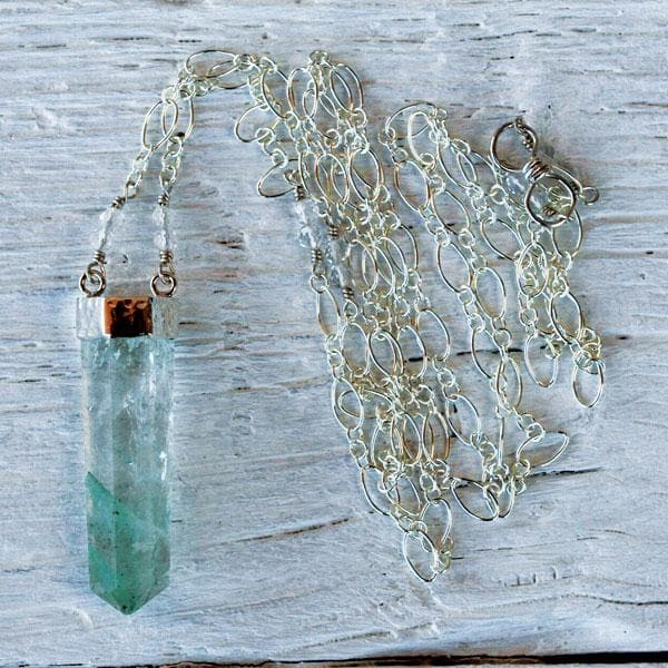 Silver Fluorite Wand Necklace