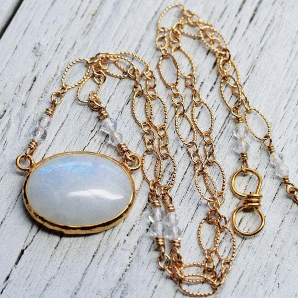 Moonstone Oval Necklace || see more colors