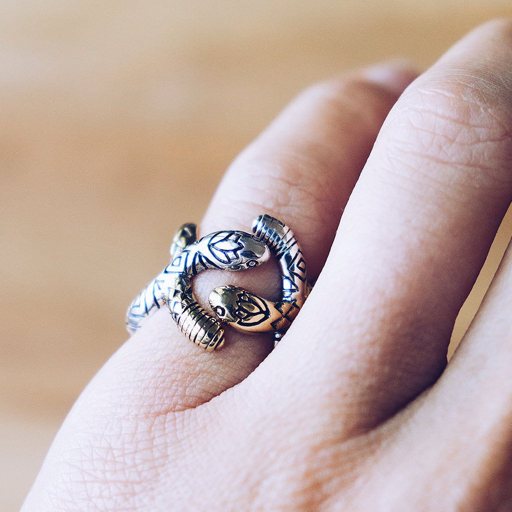 Spiral Snake Ring || Two Toned