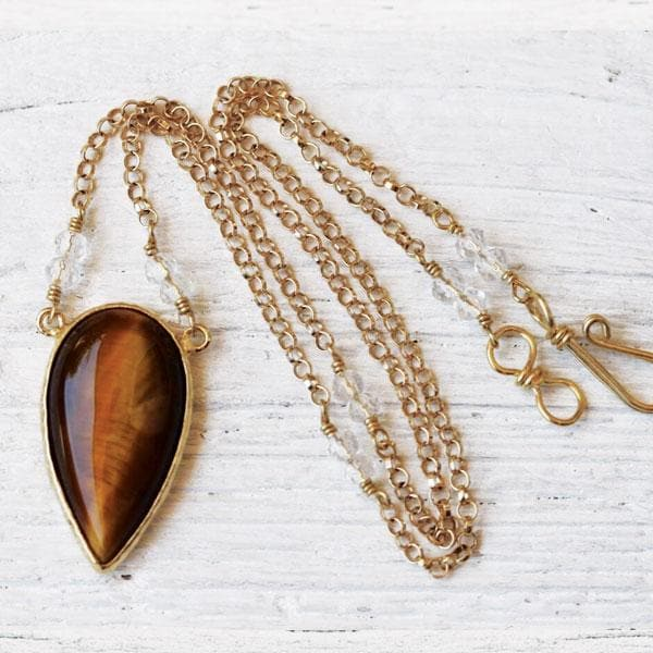 Tigers Eye Necklace :: Gold