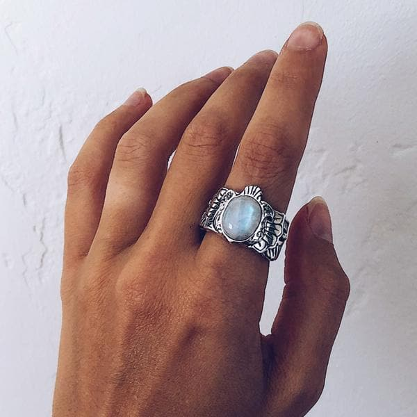 Scarab Ring || Moonstone