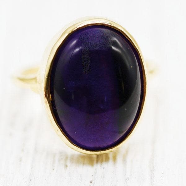 Amethyst Oval Elfin Ring :: Gold