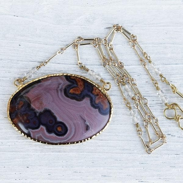 Lilac & Pink Agate Necklace