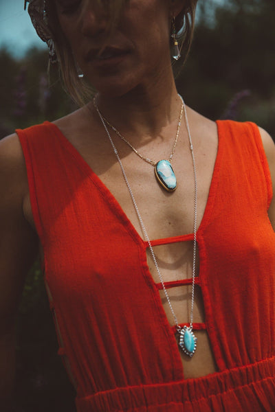 Cycle Necklace :: Silver & Larimar