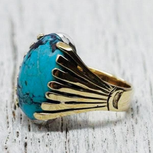 Blossom Ring :: Brass & Turquoise