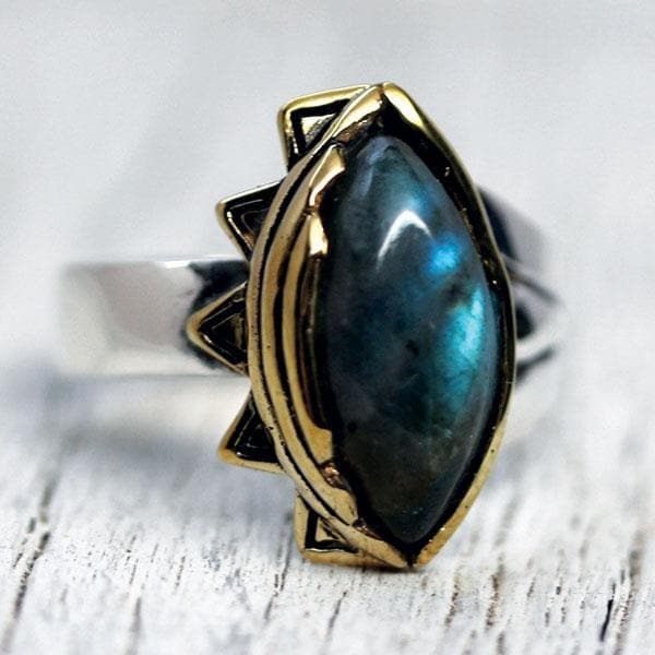 Sun & Moon Ring : Brass & Sterling
