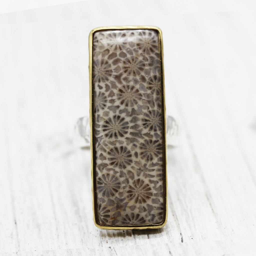 Sunflower coral Ring