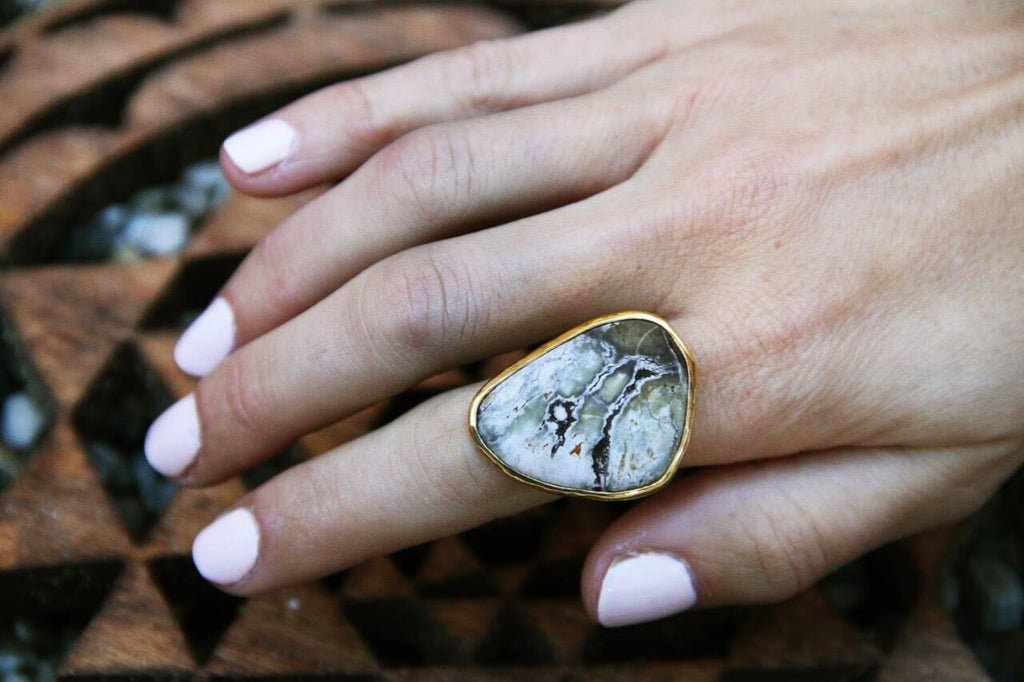 Gold White Buffalo Turquoise Ring