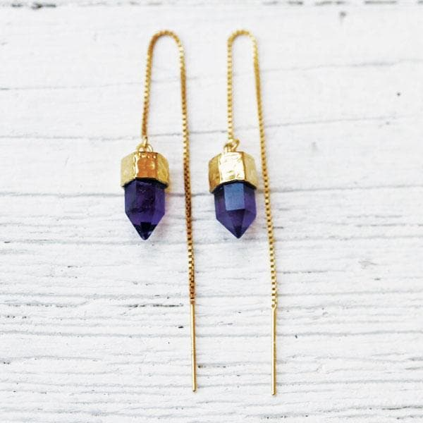 Amethyst Threader Earrings :: See more colors