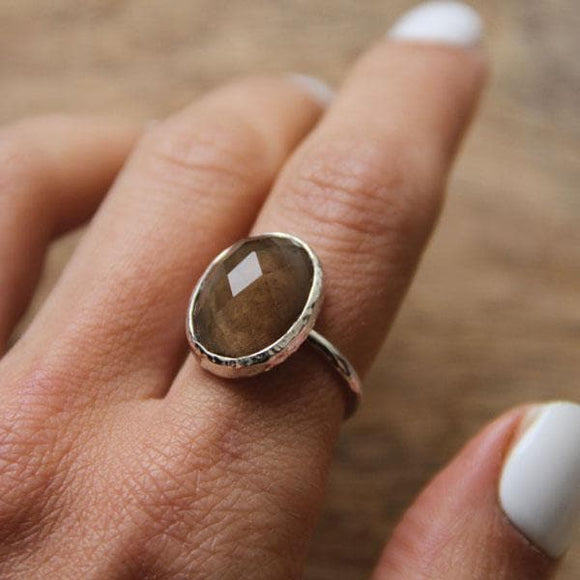 Smoky Quartz Faceted Elfin Ring :: Silver