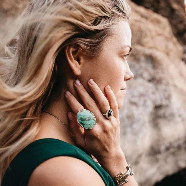 White Buffalo Elfin Turquoise Ring