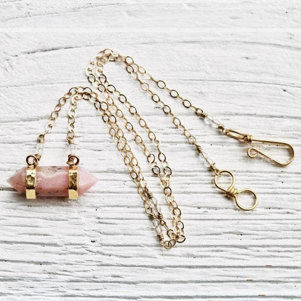 Blush Opal Wand Necklace